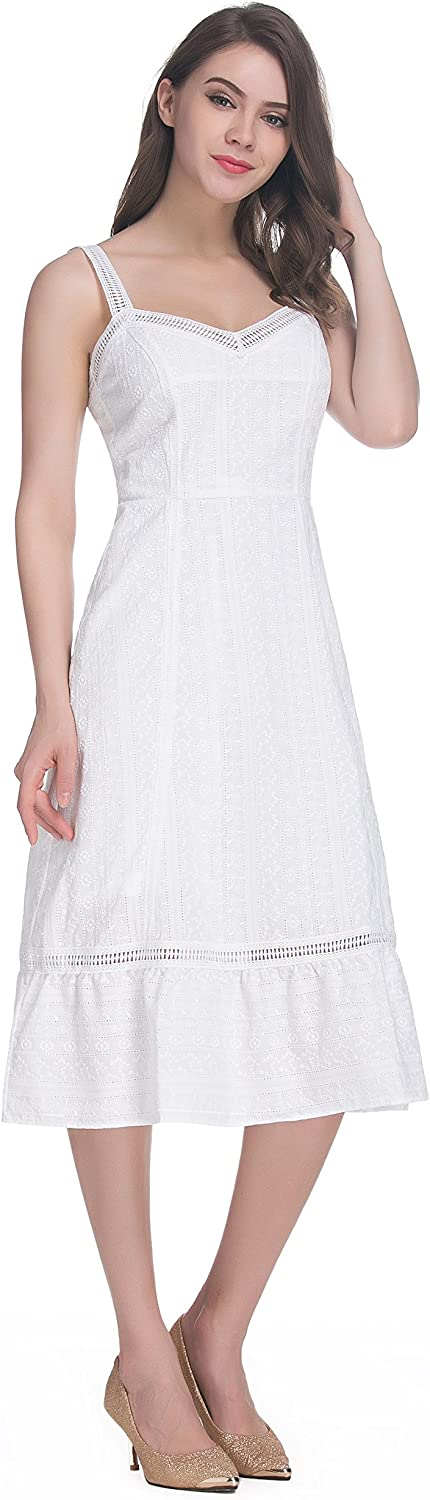 Belle Amour Zarina Weekend Women White Cotton V Neck Embroidered Long Dress