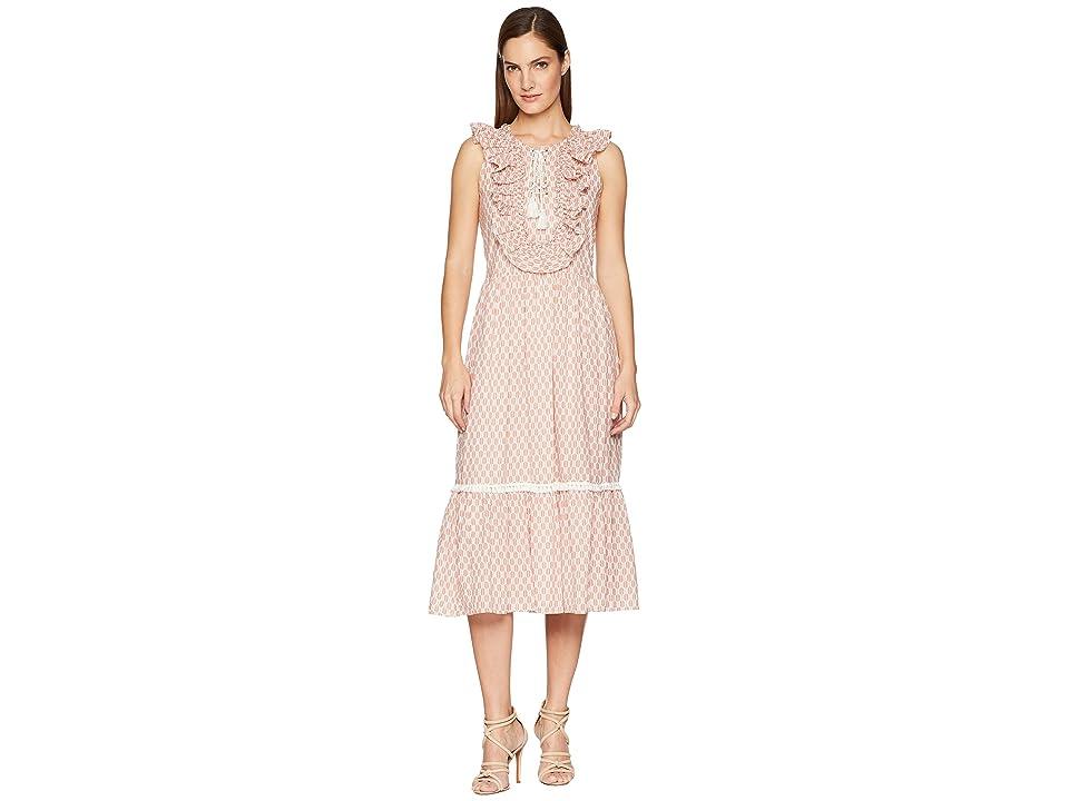 Kate Spade New York Arrow Stripe Lace-Up Dress (Fresh White/Conch Shell) Women