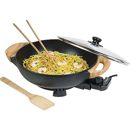 Bestron Wok électrique AEW100AS avec poignées en bambou, wok XL avec couvercle en verre, design asiatique, avec spatule en bambou, 2 baguettes de cuisson et livre de recettes 1500 W, noir, métal, 5 l