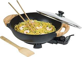 Bestron Wok électrique AEW100AS avec poignées en bambou, wok XL avec couvercle en verre, design asiatique, avec spatule en...
