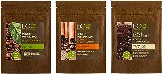 EO Laboratorie natural & organic 3 pack coffee face & body scrub set, Original, Chocolate, and Cinnamon Exfoliating, lifti...