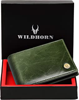 WildHorn® RFID Protected Genuine High Quality Leather Wallet for Men(Brown) (New Crunch Green)
