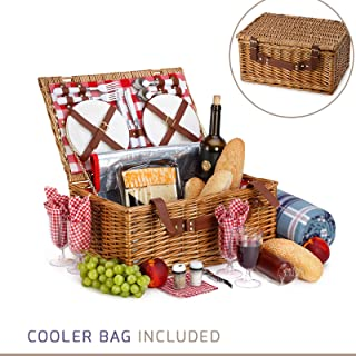 Picnic Basket For 4 With Insulated Cooler Bag - 30 Piece Kit Includes Wicker Basket with Stainless Steel Flatware, Ceramic Plates, Glasses, Linen Napkins and Blanket and More - by Vysta