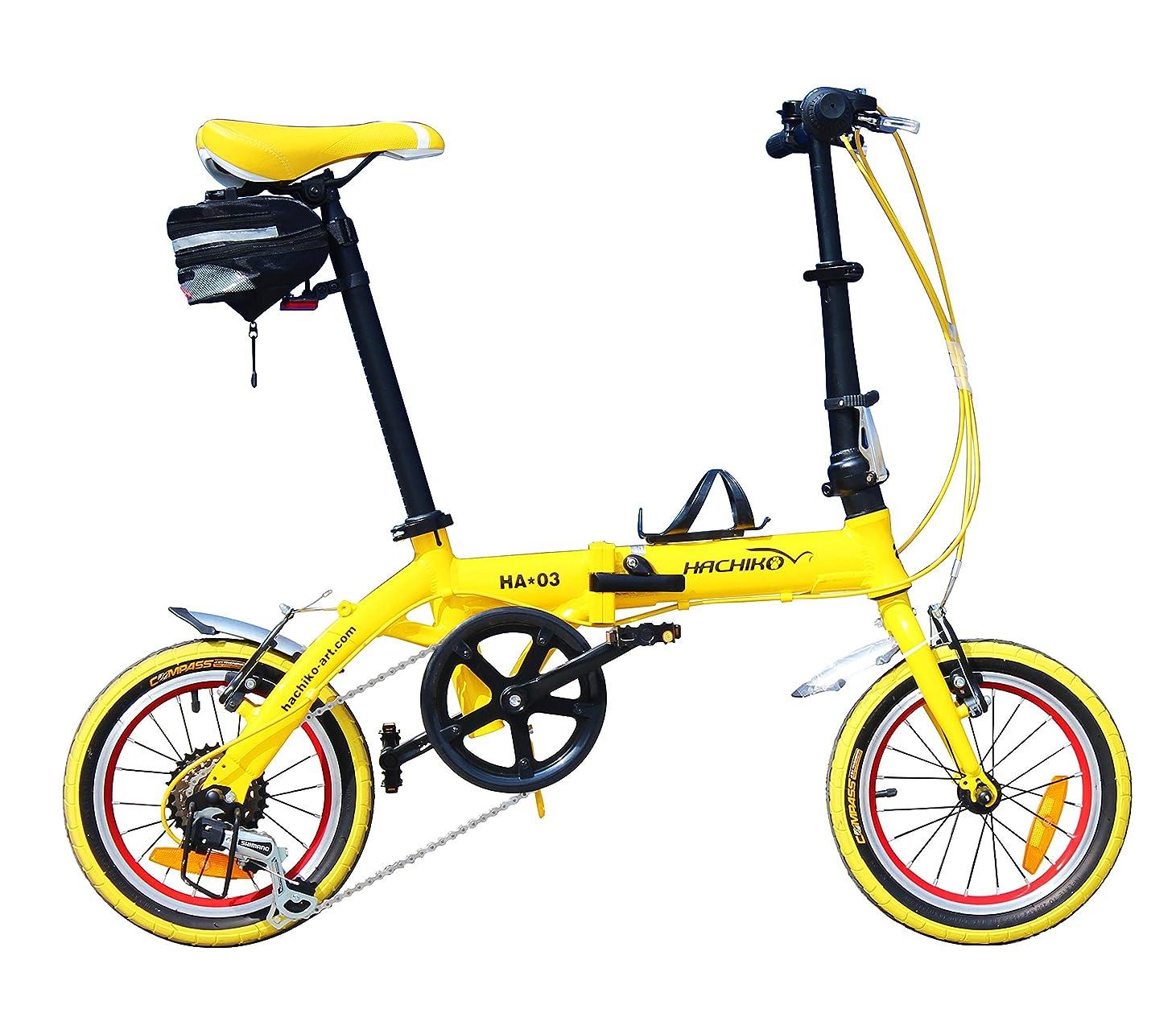 パラダイス気づく置き場HACHIKO ジュラルミン 折りたたみ自転車 SHIMANO シマノ 6段変速 14インチ [98%完成品] HA03