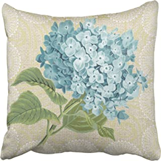 Musesh Blue Hydrangea lace Floral Vintage Pillow Cushions Case Throw Pillow Cover for Sofa Home Decorative Pillowslip Gift Ideas Household Pillowcase Zippered Pillow Covers 18x18Inch