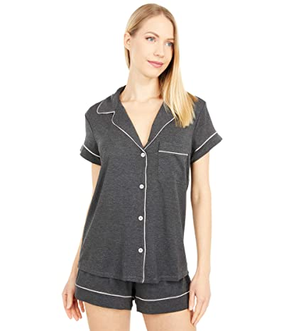 Eberjey Gisele Basics Short PJ Set (Charcoal Heather/Sorbet Pink) Women