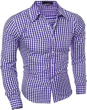 Camisa a Cuadros de Manga Larga Delgada para Hombres Camisas ...