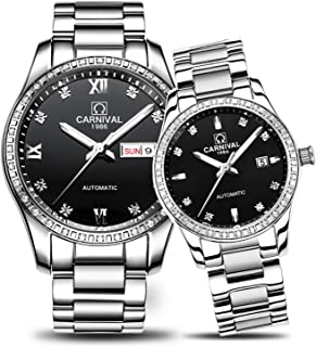 Couple Automatic Mechanical Watch Sapphire Glass Stainless Steel Watch Men and Women Her or His Gift Set of