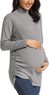Ritera Womens Turtleneck Pullover Tunic Top Side Ruched Tee Shirt Lightweight Ribbed Knit Top