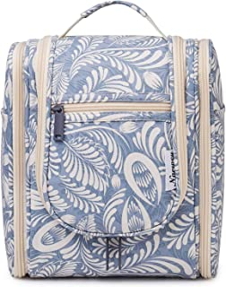 Hanging Travel Toiletry Bag Kit Cosmetic Makeup Organizer for Women and Men (Blue Leaf)