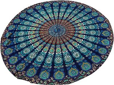 Azul redondo tapiz colgante de pared tapices Mandala tapiz indio de algodón Hippie Redondo: Amazon.es: Hogar