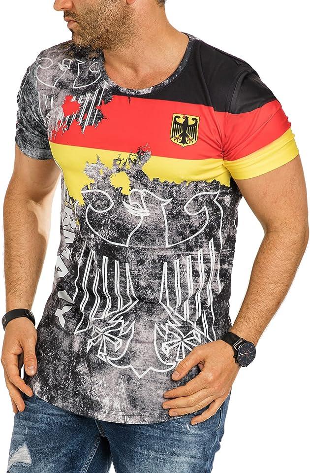 Herren T-Shirt Tee Shirt Oversize Fan Trikot Rundhals-Ausschnitt Germany Urlaub EM Fußball Deutschland