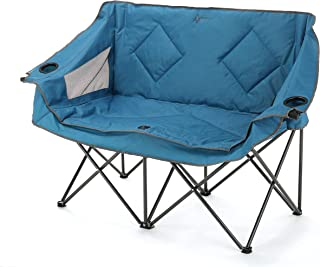 ARROWHEAD OUTDOOR Portable Folding Double Duo Camping Chair Loveseat w/ 2 Cup & Wine Glass Holder, Heavy-Duty Carrying Ba...