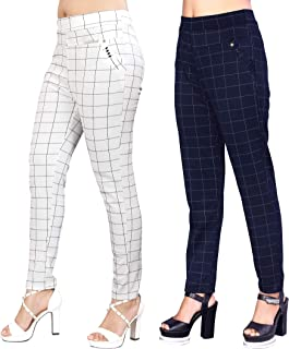 Heel & Toe Women's White & Blue Check Pants (Jegging Style) Formals/Casual Stretchable - 26-32 Inch Waist(Pack of 2)