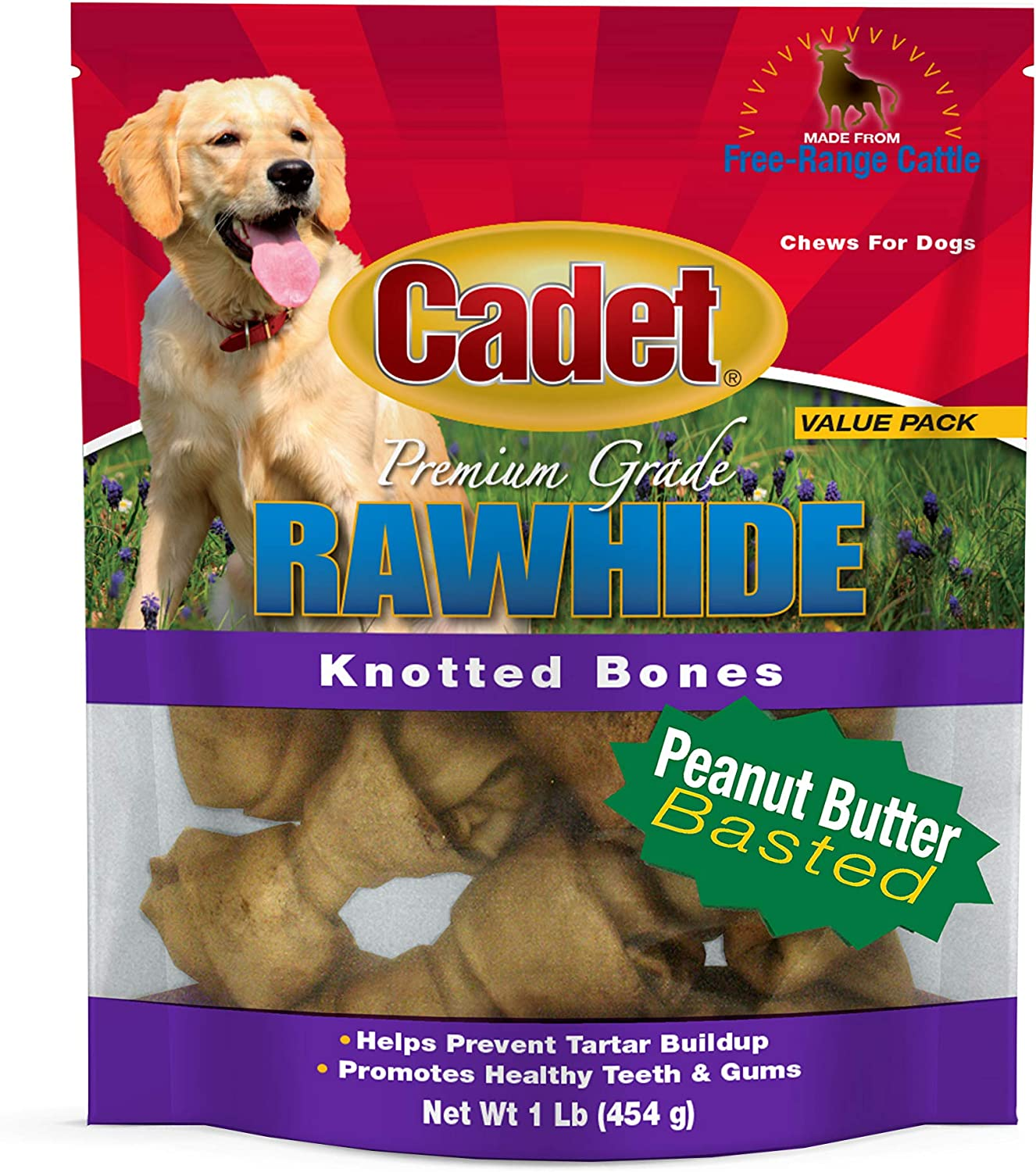 634316 Rawhide Knotted Bone Value Pack Peanut Butter, 1 lb, 1Piece