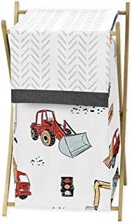 Sweet Jojo Designs Construction Truck Baby Kid Clothes Laundry Hamper - Grey Yellow Orange Red and Blue Transportation Che...