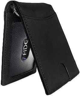 FIDELO Men's Bifold Leather RFID Minimalist Wallet (Black)