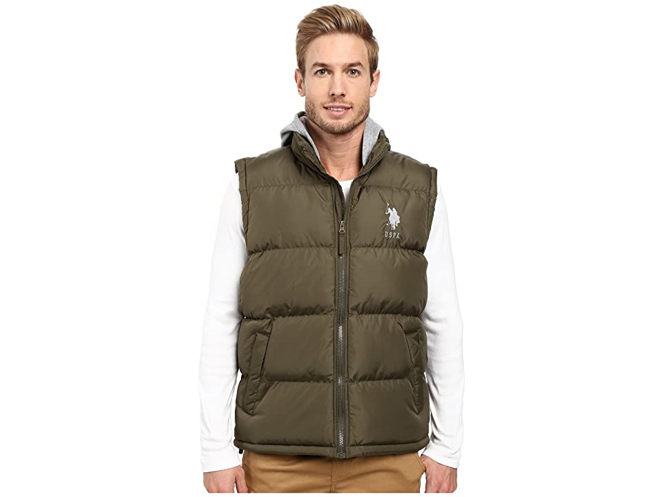 U.S. POLO ASSN. Basic Puffer Vest with Fleece Hood (Forest Night) Men