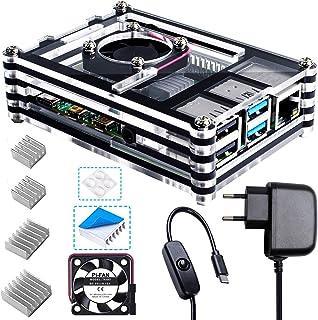 Bruphny Caja para Raspberry Pi 4, Caja con Ventilador, Cargador de 5V / 3A USB-C y 4 X Disipador para Raspberry Pi 4B / 4 ...
