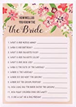 Best Paper Greetings Floral Bridal Wedding Shower Games for Guests - 50 Sheets - How Well Do You Know the Bride - 5 x 7 Rustic Vintage Card Designs