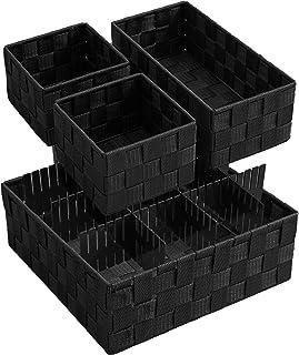 VK Living Woven Storage Box Basket Bin Container, Woven Strap Basket, Nylon Woven Box Basket, Underwear Bra Storage Organi...