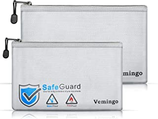 Vemingo Fireproof Bags 2 Packs, 2019 Upgraded Waterproof and Fire-Resistant Money Safe Bags with Zipper Fire Safe Storage ...