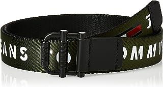 حزام ريف منسوج للرجال ذات بكرة بتصميم مطبوع عليه شعار تومي جينز بعرض 3.5 سم وطول 100 سم من تومي هيلفجر، لون ازرق