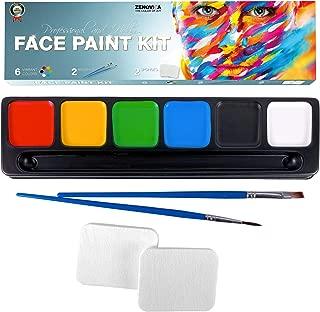 Face Paint Kit for Kids, Large Water Based Paints, Halloween Makeup Kit, Professional Face Paint Palette, Face Paints Safe for Sensitive Skin, Face Painting Book (6 Large Face Paint Colors Kit)