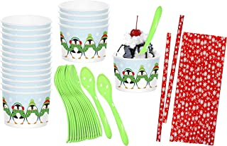 Holiday Paper Treat Cups - Penguin Themed - Blue Red Green - Plastic Spoons - Paper Snowflake Straws - Pack for 18