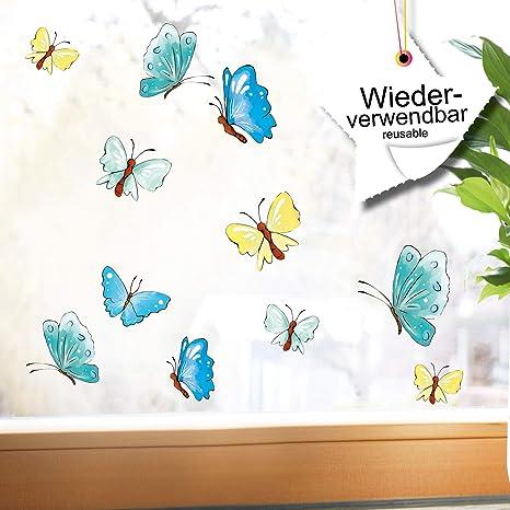 Wandtattoo Loft Fensterbild Fruhling 25 Schmetterlinge Pastell Ostern Fensteraufkleber Wiederverwendbar Pastellfarben Hellblau Gelb Amazon De Kuche Haushalt
