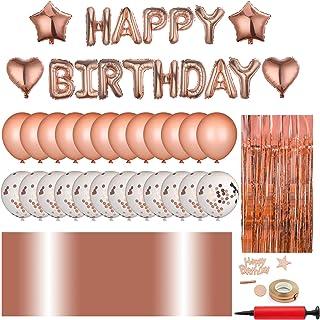 زينة عيد الميلاد مع لافتة بتصميم Happy Birthday، مجموعة تزيين الحفلات بلون ذهبي وردي، مضخة هوائية، شريط منقط، ستائر