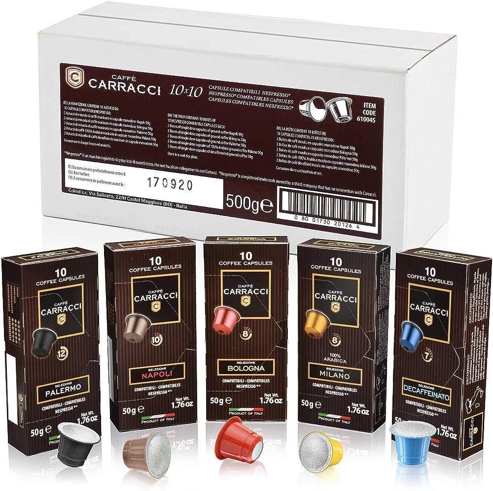 Caffè carracci, capsule compatibili nespresso kit, miscele assortite, 10 astucci da 10 capsule