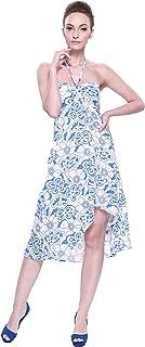 LLJ Hawaii Women's Hawaiian Butterfly Dress in White Blue Hibiscus Print