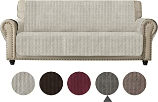 Ameritex Sofa Cover Slip Resistant Sofa Slipcover Protector, Suede-Like, Furniture Protector Slipcover for Dogs, Children, Pets Sofa Slipcover for Leather Couch (Ivory White, Sofa)