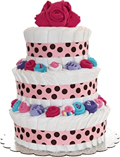 QBabyShowering 3 Tier Cute Decorated Baby Girl Diaper Cake for Babyshower (Pink)