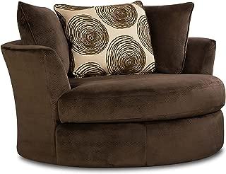 Chelsea Home Furniture Rayna Swivel Chair, Groovy Chocolate/Big Swirl Chocolate
