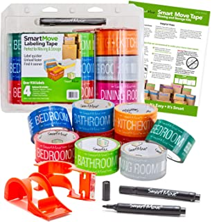 Uboxes Smart Move 4 Bedroom Labeling Tape, 9 Rolls of Color Coded Tape, 2 Dispenser, 2 Marker