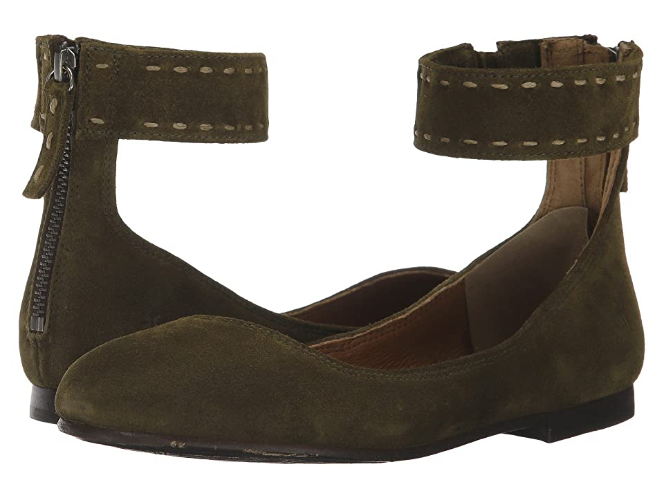 Frye Carson Ankle Ballet (Khaki Soft Oiled Suede) Women