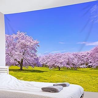LB 自然風景タペストリー 母の日 桜の花 美し景色 オシャレ壁掛け 装飾布 インテリア 多機能 リビング お店 個性ギフト 人気 新年祝い (200x150cm)