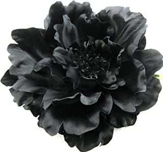 Full 6 Goth Black Peony Silk Flower Combo Hair Clip with Teeth and/ Brooch Pin