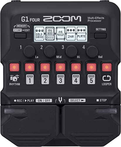 Zoom G1 FOUR Guitar Multi-Effects Processor Pedal, With 60+ Built-in effects, Amp Modeling, Looper, Rhythm Section, T...