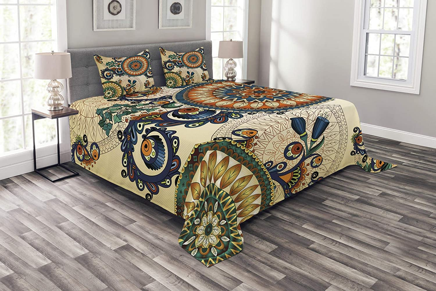 Lunarable Ethnic Bedspread, Floral Boho Pattern with Floral and Peacock Feather Folk Image, Decorative Quilted 3 Piece Coverlet Set with 2 Pillow Shams, Queen Size, Soft Beige