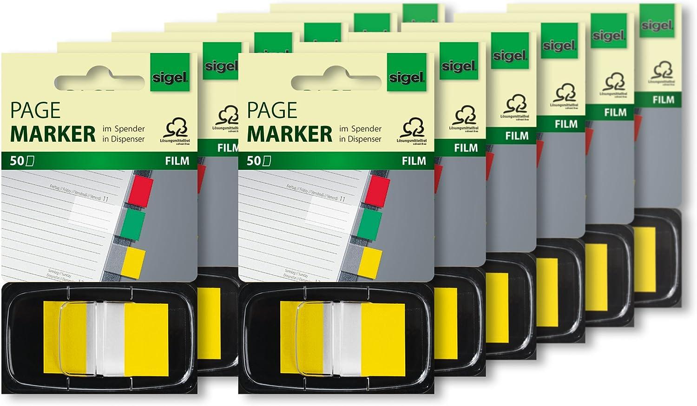 SIGEL HN490 12 Haftmarker im Spender, gelb, 12 Stück á 50 Streifen im Format 25 x 43 mm - weitere Farben B005L9DUB6  | Kostengünstiger