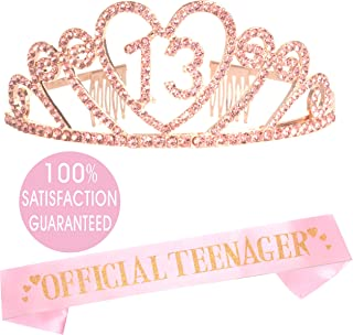 13th Birthday Tiara and Sash Pink   Happy 13th Birthday Party Supplies   Official Teenager Satin Sash and Crystal Tiara Birthday Crown for 13th Birthday Party Supplies and Decorations (Heart)