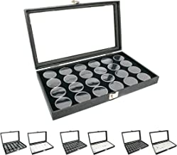 Novel Box Large Glass Top Black Leatherette Jewelry Display Case + 24 Count Jar Insert..