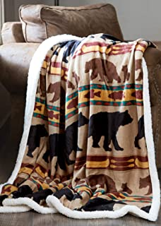 Carstens, Inc Carstens Bear Family Rustic Cabin Sherpa Fleece 54x68 Throw Blanket, Brown