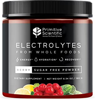 Primitive Scientific Whole Food Electrolyte Powder (Berry Flavor) Sugar Free, Vegan Electrolyte Supplement for Energy Boos...