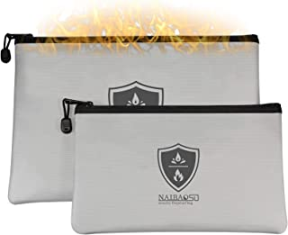 Fireproof Document Bag Waterproof Zipper Fireproof Safety Wallet can Store Money A4 documents Legal documents Valuables (...