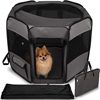 Dog Playpen with Blanket – Portable Soft Sided Mesh Indoor & Outdoor Exercise Play Pen for Pets