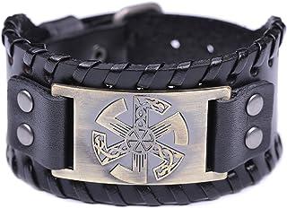 TEAMER Slavic Kolovrat Leather Bracelet Adjustable Studded Clasp Cuff Bangle for Men